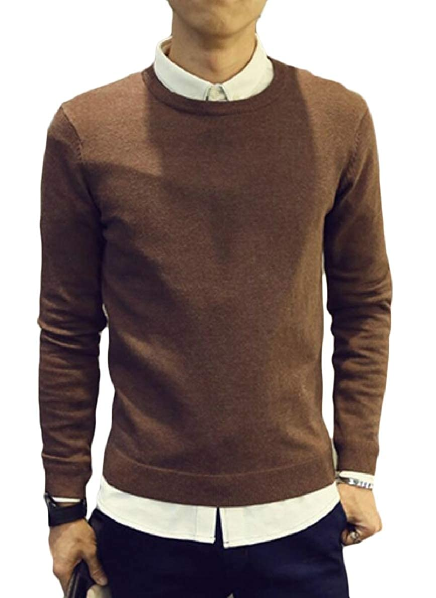 FLCH+YIGE Mens Knitting Winter Knitwear Solid Casual Crewneck Pullover Sweaters