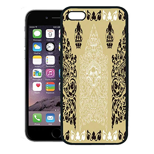 Semtomn Phone Case for iPhone 8 Plus case Cover,Cambodia Cambodian Floral Pattern Abstract Black Flower Ancient,Rubber Border Protective Case,Black