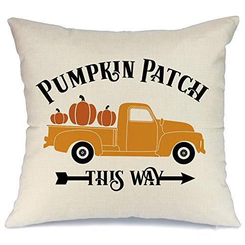 AENEY Fall Truck Pumpkin Patch Throw Pillow Cover 18 x 18 Couch Vintage Fall Decorations Farmhouse Home Decor Hello Autumn Thanksgiving Decorative Pillowcase Faux Linen Cushion Case Sofa