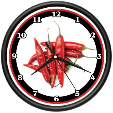 Clock Wall Gift Hot (RED CHILI PEPPERS Wall Clock kitchen hot chef new gift)