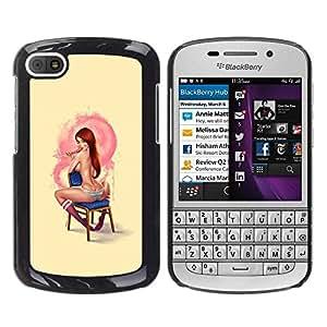 TopCaseStore / la caja del caucho duro de la cubierta de protección de la piel - Up Girl Redhead Freckles Yellow - BlackBerry Q10