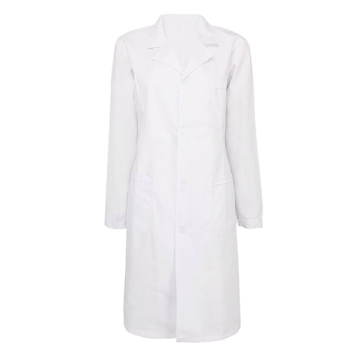 YiZYiF Mens Womens Long Sleeve Lab Coats Medical Doctor Nurse White Long Jacket Womens Small