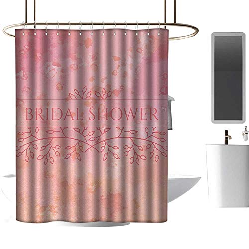 Qenuan Shower Curtain Bridal Shower,Bride Invitation Grunge Abstract Backdrop Floral Design Print,Light Pink and Salmon,Metal Rust Proof Grommets Bathroom Curtain 47