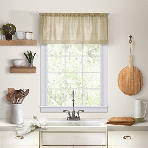 Elrene Home Fashions 26865775433 Solid Hemstitched Rod Pocket Valance Kitchen/Café Window Curtain, 60