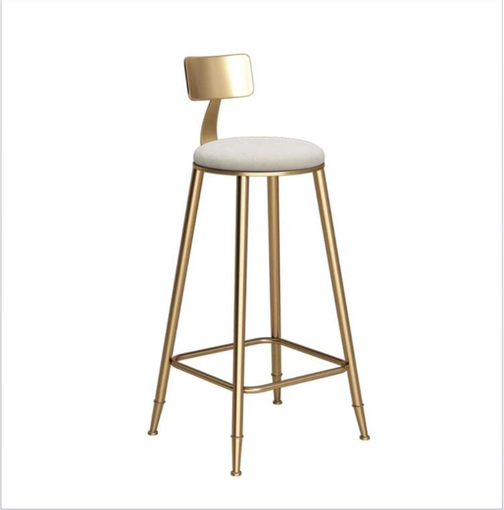 434345cm Kitchen backrest Bench Metal Frame White Cotton mat Modern Dining Chair seat Height 45-85 cm,43  43  45cm
