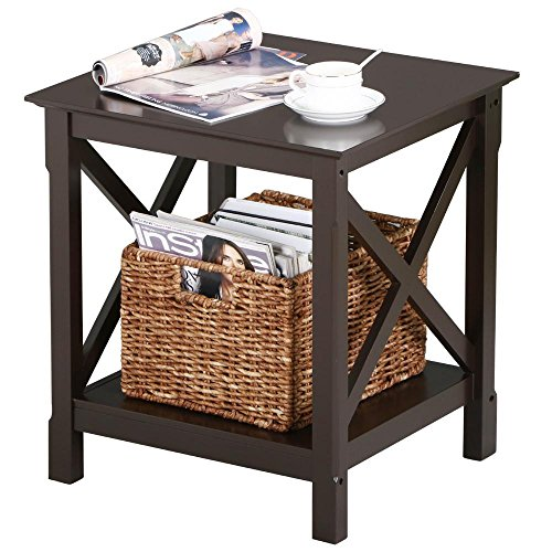 Topeakmart X Design Wood Coffee Side End Table with Storage Shelf for Living Room (Espresso, Rustic) (Shelf High 22')
