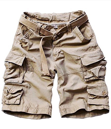 FOURSTEEDS Womens Cotton Butt Lift Multi-Pockets Camouflage Casual Twill Bermuda Cargo Shorts with Belt