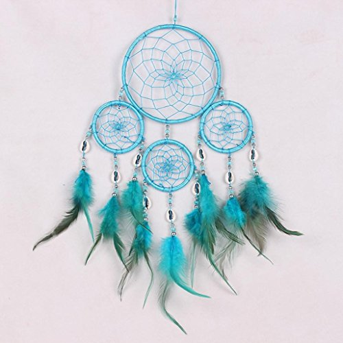 sankuwen 1pc dream catcher circular feathers wall hanging decoration blue dream catchers. Black Bedroom Furniture Sets. Home Design Ideas