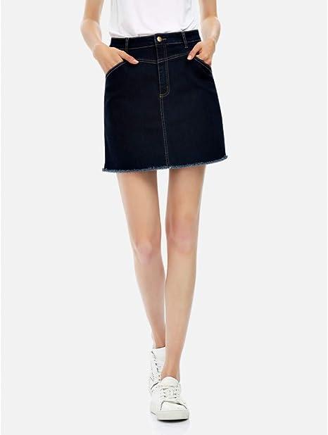 FSDFASS Faldas Denim Women A Line Faldas Algodón Casual Cintura Alta Pantalones Vaqueros Cortos Falda Verano Mujer Mini Falda Corta Bolsillo Trasero: Amazon.es: Deportes y aire libre