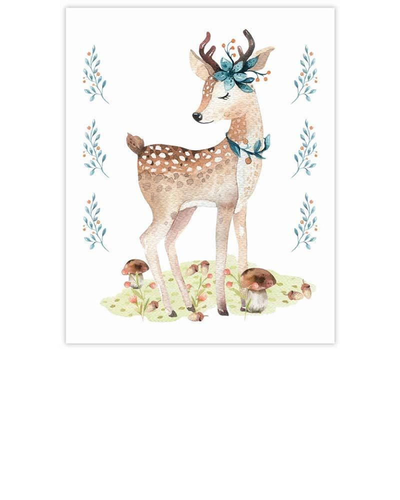 YaYstationery Art Prints - Wall Art - Wall Decor - Home Decor - Nursery Room Decor - Dorm Room Decor - 8 x 10 inches Digital Art Print Unframed - Thick Textured Paper Stock - Lady Deer