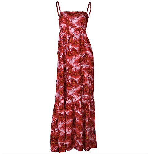 Goldmarie Maxikleid Bandeau Pfauenfeder Muster - Sommer Kleid Rot Gr. S M  gBVvp 18b2d98e7b