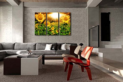 Canvas Print Wall Art Painting For Home Decor Bright Sunflower Yellow Sunshine 3 Pieces Panel Paintings Modern Artwork The Picture For Living Room Decoration Flower Pictures Photo Prints On Canvas