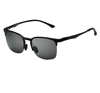 VEITHDIA Sonnenbrille Herren Retro Polarisierte Sonnenbrille Metallrahmen Brille Al-Mg Metallrahme Ultra leicht 6690 (Schwarz) AflS9vUE2m