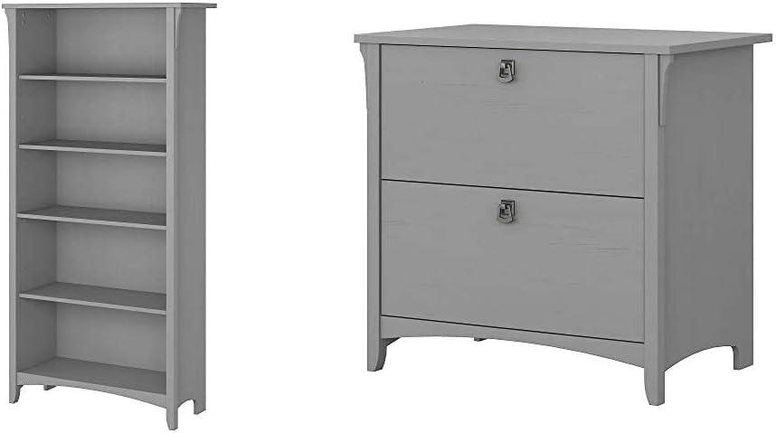 Bush Furniture Salinas 5 Shelf Bookcase in Cape Cod Gray & Salinas Lateral File Cabinet in Cape Cod Gray