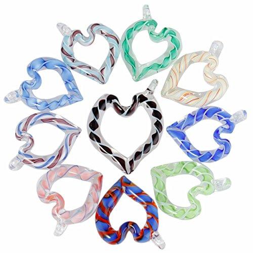 TUMBEELLUWA Glass Necklace Lampwork Glass Hollow Heart Pendant Assorted Random Color