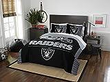 "Oakland Raiders - 3 Piece FULL / QUEEN Size Printed Comforter Set - Entire Set Includes: 1 Full / Queen Comforter (86"" x 86"") & 2 Pillow Shams - NFL Football Bedding Bedroom Accessories"