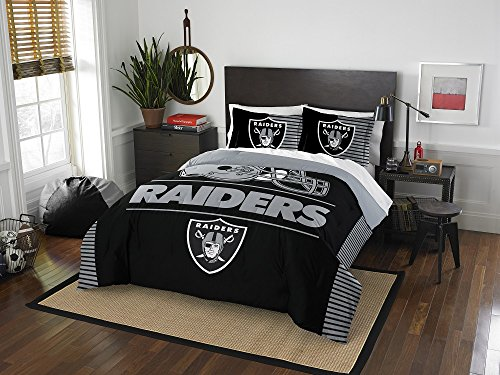 Oakland Raiders - 3 Piece FULL / QUEEN Size Printed Comforter Set - Entire Set Includes: 1 Full / Queen Comforter (86