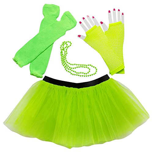 Warm Halloween Costumes For Women (Womens Teen 80's Costume & Accessories - Tutu Leg Warmers Fishnet Gloves Beads (Neon Lime Green))