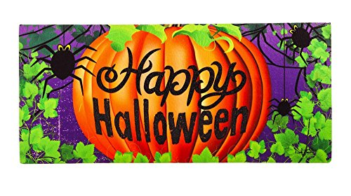 Evergreen Halloween Spider Decorative Mat Insert, 10 x 22 inches -