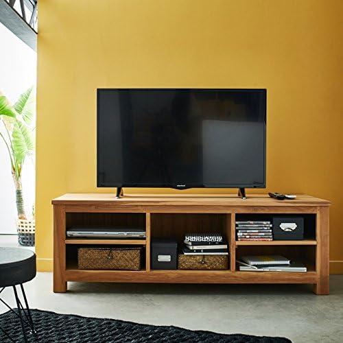 Mueble para televisor madera de teca bruto calidad grado A-150 cm, diseño de centrales y casetas en las laterales: Amazon.es: Hogar