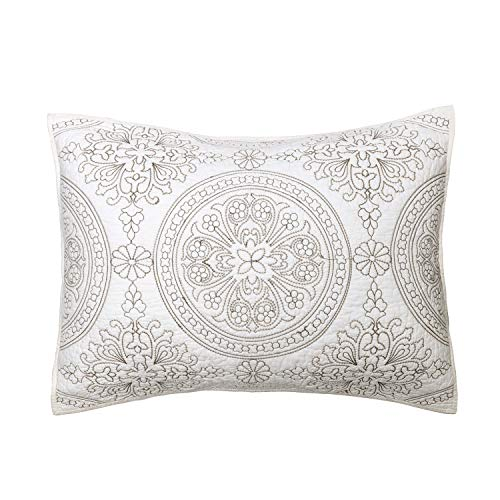 (Elegant Life All-season 100% Cotton Super Soft Medallion Solid Embroidery Shams Pillowcases, Standard(20''x 26''), Ivory)