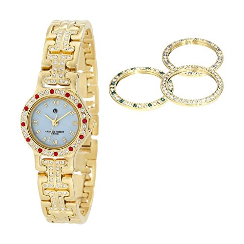 Gld-pltd Mop Dial With 4 Color Bezels Watch by Charles Hubert Paris Watches, Best Quality Free Gift Box ()