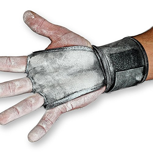 JerkFit WODies Full Palm Protection to Reduce Hand Tearing While Adding Crucial Wrist Support for Weightlifting, Workouts WODs, Cross Training, Fitness and Calisthenics (Black, Medium) ()
