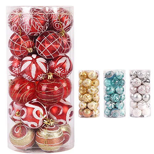 CHICHIC 24ct 2.4/60mm Christmas Ball Ornaments Set Shatterproof Tree Balls Decorative Hanging Baubles Pendants for Christmas Holiday Wedding Party Decorations, Red