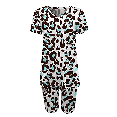 Summer Short Sets,Women's Tie-Dye Set Two-Piece Outfits Gradient Print Short Sleeve V Neck Two Piece Outfits Biker Shorts Set (Blue_5,L)