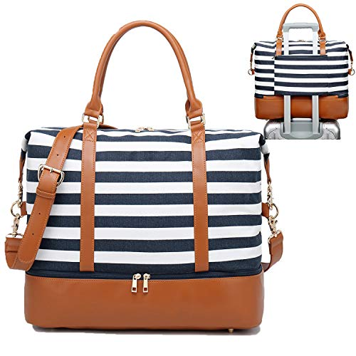 (Womens Travel Weekend Bag Canvas Overnight Carry on Shoulder Duffel Beach Tote Bag (Blue stripe with shoe compartment))