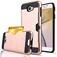 Galaxy J7 2017 Case,Berry Dual Layer Hard Silicone Rubber Hybrid Defender Armor Card Slot Holder Slim Fit Full Body Protective Cover for Samsung Galaxy J7 V / J7 Prime / J7 Sky Pro / Halo
