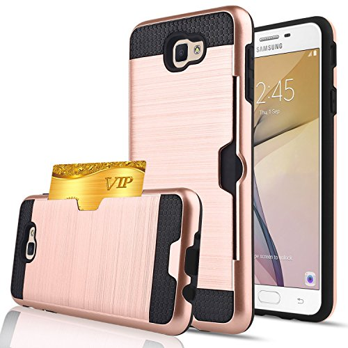 Cheap Galaxy J7 2017 Case,Berry Dual Layer Hard Silicone Rubber Hybrid Defender Armor Card Slot Holder Slim Fit Full Body Protective Cover for Samsung Galaxy J7 V / J7 Prime / J7 Sky Pro / Halo – Rose Gold