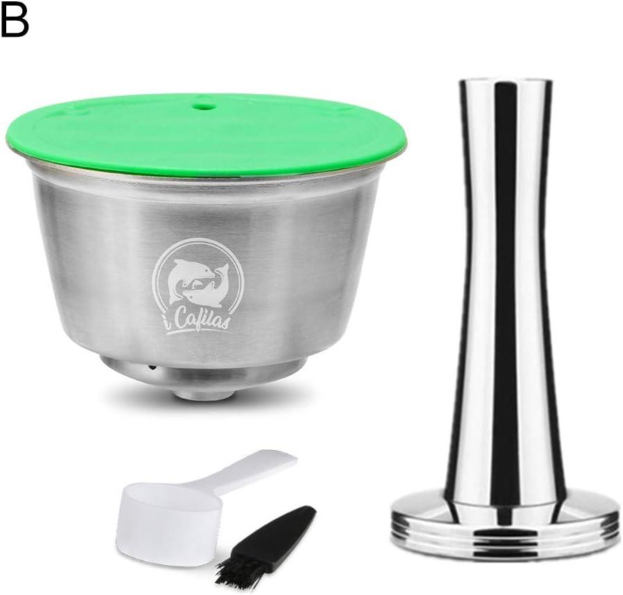 Pengyu - Filtro de cápsula de café rellenable de acero inoxidable para Dolce Gusto, Cápsula de café, Herramientas de cocina y gadgets, Cápsula de plata + Tamper: Amazon.es: Hogar