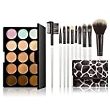 15-color Concealer + 10pcs Professional Multifunctional Cosmetic Makeup Brushes Set Black & White Stone Lines 10014918