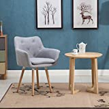 Living Room Chair Windaze Living Room Chair, Mid Century Modern Retro Leisure Fabric Accent Dining Chair with Buttons and Solid Bentwood Legs, Grey