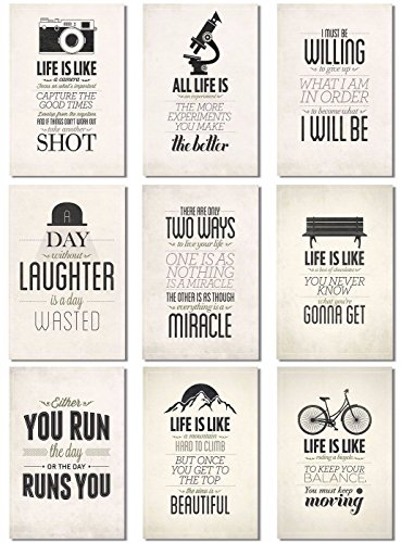 9Pcs x Poster Motivational Self Positive Life Is Like Quotes