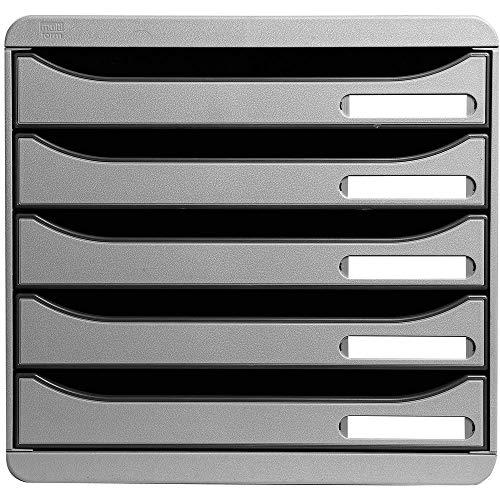 Multiform 309740D Big Box Plus - Cajonera de oficina (5 cajones, 43 mm de altura por cada cajon, tamano A4 holgado), color gris claro
