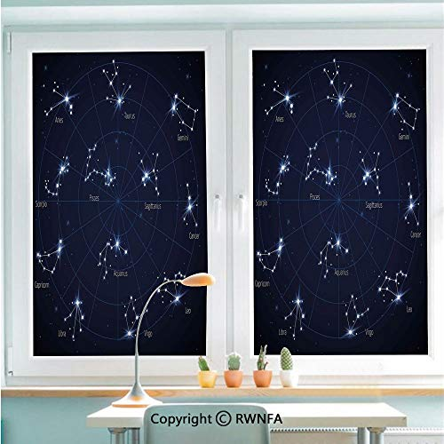 RWNFA Window Films Privacy Glass Sticker Sky Star Map with Geometric Circle Space Night Horoscopes Chart Dark Static Decorative Heat Control Anti UV 22.8In by 35.4In,Dark Blue White