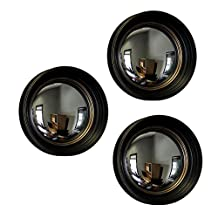 Set of 3 Black and Gold Framed Convex Fish Eye Wall Mirrors 14 in.