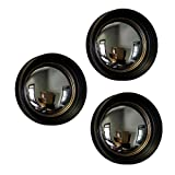 Zeckos Plastic Wall Mounted Mirrors Set of 3 Black and Gold Framed Convex Fish Eye Wall Mirrors 14 in. 14 X 14 X 2.75 Inches Black