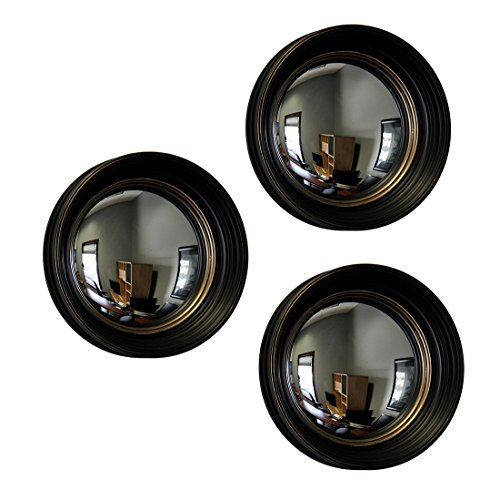 Plastic Wall Mounted Mirrors Set Of 3 Black And Gold Framed Convex Fish Eye Wall Mirrors 14 In. 14 X 14 X 2.75 Inches - Mirror 14 Round