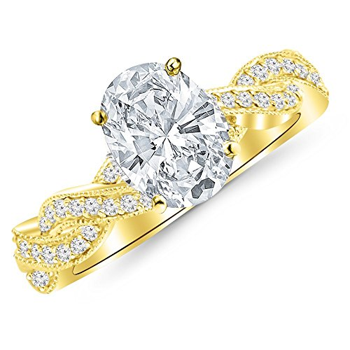 0.58 Cttw 14K Yellow Gold Oval Cut Vintage Eternity Love Twisting Split Shank Diamond Engagement Ring With Milgrain with a 0.3 Carat H-I Color SI2-I1 Clarity Center by Chandni Jewels