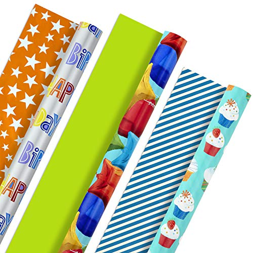 Hallmark Reversible Birthday Wrapping Paper, Celebrate (Pack of 3, 120 sq. ft. ttl.) Balloons, Cupcakes, Stars, Stripes, Solid Red