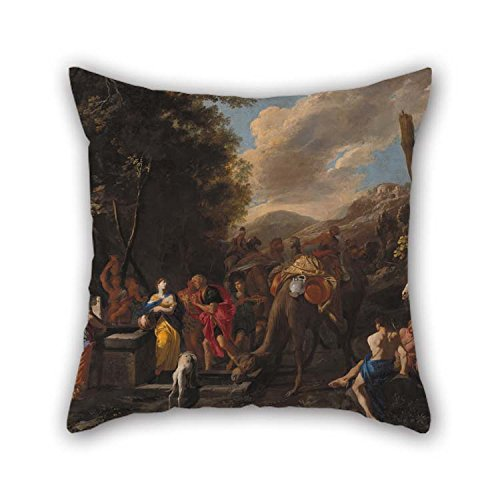 eyeselect Oil Painting Domenico Gargiulo - Rebecca and Eliezer at The Well Throw Pillow Case 16 X 16 Inches / 40 by 40 cm Gift Or Decor for Her Couch ()