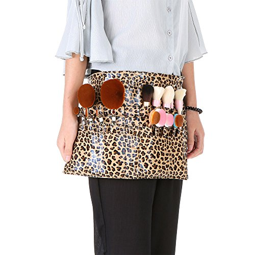 Anself-Leopard-Cosmetic-Makeup-Brush-Holder-PU-Apron-Bag-with-Artist-Belt-Strap