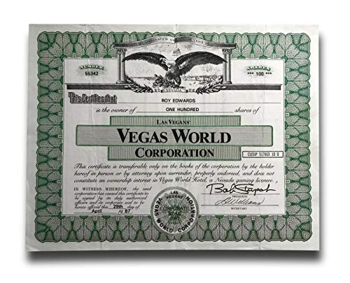 VEGAS WORLD LAS VEGAS HOTEL - STOCK CERTIFICATE - BOB STUPAK CASINO SHARES STRIP from Inscriptagraphs
