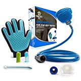 Deluxe Dog, Cat & Horse - Bath and Grooming Kit By Pampered Pet - Washer, Shower Sprayer & Scrubber, 2-in-1 Grooming Glove, 7'' Toothbrush & Mini Finger Toothbrushes - For Puppies Kittens & Adult Pets