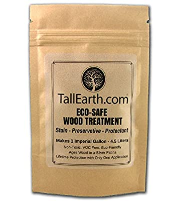 ECO-SAFE Wood Treatment - Stain & Preservative by Tall Earth - 1/3/5 Gallon Sizes - Non-Toxic/ VOC Free/ Natural Source