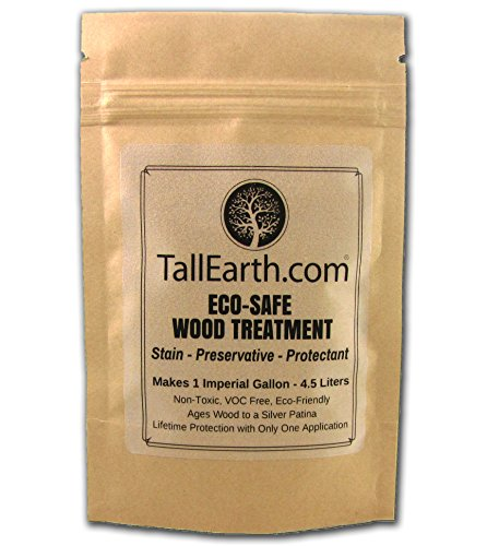 Tall Earth TEESWT1G Eco-Safe Wood Treatment, Stain and Preservative, 1/3/5 gal, Non-Toxic/VOC Free/Natural Source (1 gal) (Garden Wood Furniture Stain)