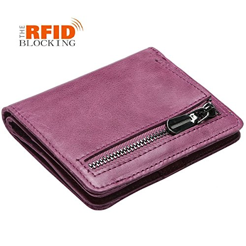 JSLOVE Rfid Blocking Small Compact Bi-fold Leather Pocket Wallet for Women(amethys)